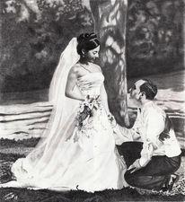 Bleistiftzeichnung, Hochzeit, Kleid, Paar