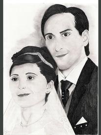 Grafit, Portrait, Hochzeit, Glück
