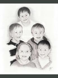 Grafit, Bleistiftzeichnung, Kinder, Portrait