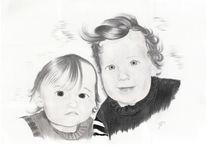 Kinder, Bleistiftzeichnung, Grafit, Portrait