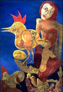 Hahn, Surrealistisch, Vogel, Mischtechnik