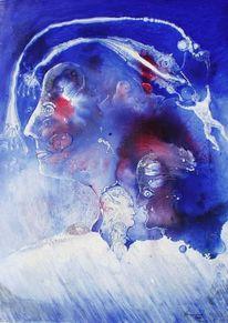 Blau, Mischtechnik und ferroprint, Zerkallbütten, Menschen