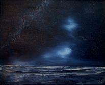 Nacht, Meer, Sternenhimmel, Blau
