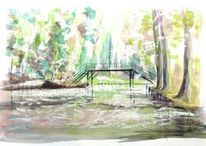 Spreewaldbrücke herbstlaub, Aquarell, Meine bilder