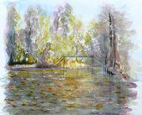 Herbstlaub, Aquarellmalerei, Spreewald, Fließ