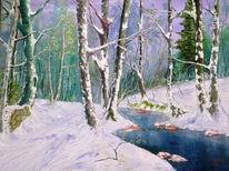 Ölmalerei, Winterwald, Bach, Malerei