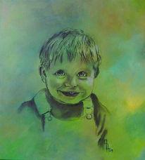 Portrait, Kind, Junge, Kohlezeichnung
