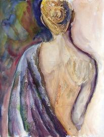 Frau, Erotik, Portrait, Aquarellmalerei