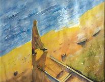 Aquarellmalerei, Weg, Leben, Malerei