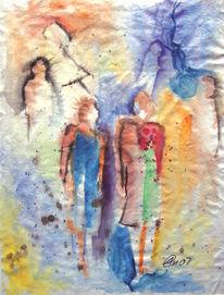 Kommunikation, Aquarellmalerei, Menschen, Malerei