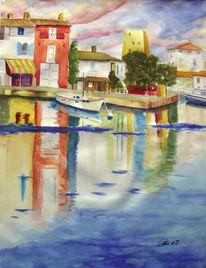 Aquarellmalerei, Riviera, Ruhe, Sturm