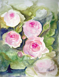 Rose, Tusche, Malerei,