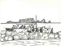 Skizze, Malerei, Zeichnung, Bootsausflug