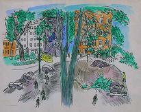 Lithografie, Düsseldorf, 1948, Park