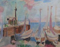 Malerei, Schiff, Boot, Fischerboot