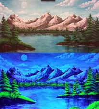 Bewegungsmelder, Nacht, Berge, Acrylmalerei