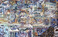 Pastellmalerei, Holz, Traum, Blau