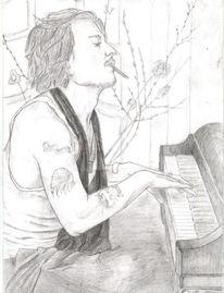 Klavier, Johnny depp, Zeichnungen, Portrait