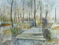 Winter, Park, Brücke, See