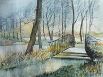 Brücke, Park, See, Winter