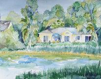 Aquarellmalerei, Bungalow, Haus, See