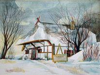 Aquarellmalerei, Dornenhaus, Winter, Schneewolken