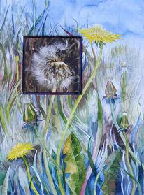 Blüte, Löwenzahn, Fotografie, Aquarellmalerei
