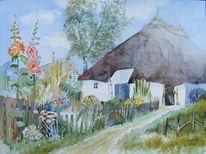 Aquarellmalerei, Garten, Pfarrwittwenhaus, Sommer
