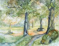 Park, Aquarellmalerei, Herbst, Aquarell