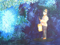 Abend, Stern, Aquarellmalerei, Laterne