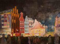 Stadtansicht, Lichtwoche, Rostock, Illumination