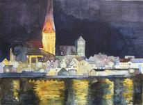 Kirche, Petri, Aquarellmalerei, Altstadt