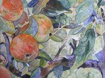 Früchte, Aquarellmalerei, Sauer, Blätter
