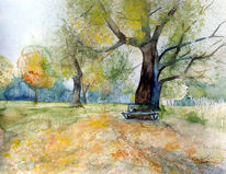 Park, Herbst, Sonne, Aquarellmalerei
