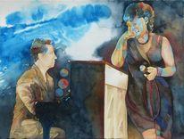 Sänger, Jazz, Aquarellmalerei, Musiker