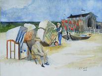 Ostsee, Aquarellmalerei, Boot, Fischerboot