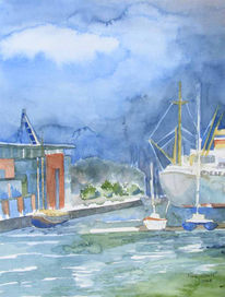 Rostock, Warnow, Aquarellmalerei, Boot