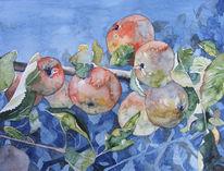 Bunt, Herbst, Malerei, Baum