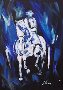 Malerei, Abstrakt, Reiter