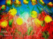 Orange, Blau, Blumen, Tulpen