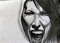 Zeichnungen, Portrait, Schrei