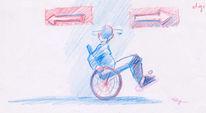 Rollstuhl, Pfeil, Richtung, Menschen