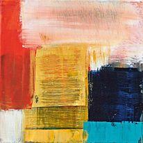Gelb, Abstrakt, Spachteltechnik, Blau