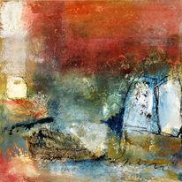 Malerei, Rot, Figural, Landschaft