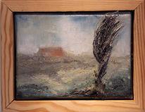 Malerei, Ölmalerei, Landansicht, Dorf