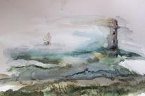 Wasser, Boot, Leuchtturm, Aquarell