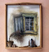 Schmetterling, Fenster, Pflanzen, Schnecke