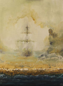 Malerei, Fantasie, Wüstenschiff