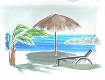 Gouachemalerei, Strandhütte, Curacao, Meer