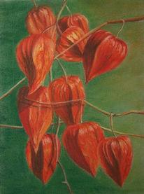 Blumen, Lampion, Laterne, Pastellmalerei